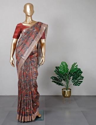 Brown cotton silk saree for festive season