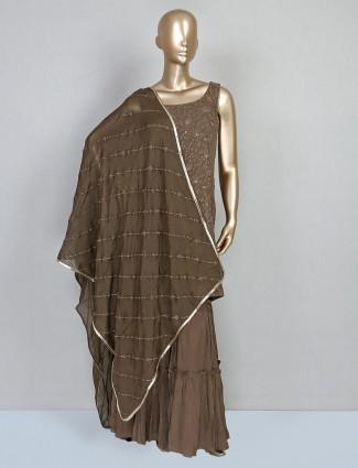 Brown georgette sharara style salwar kameez