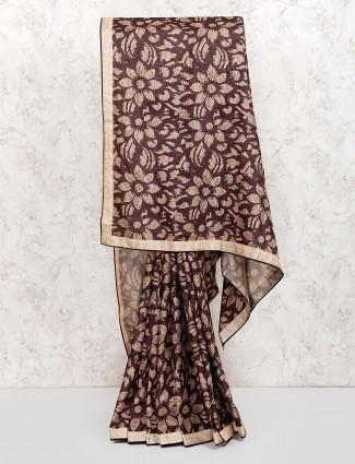 Brown hue amazing festive printed saree
