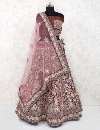 Brown hue bridal raw silk semi stitched lehenga choli