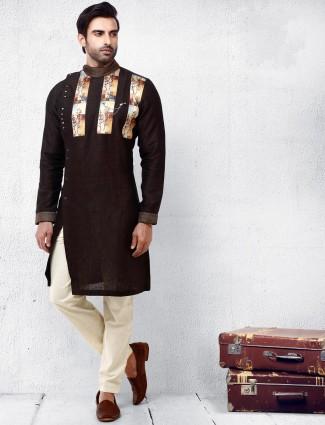 Brown hue cotton fabric kurta suit for festive