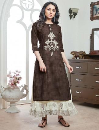 Brown hue cotton festive round neck kurti