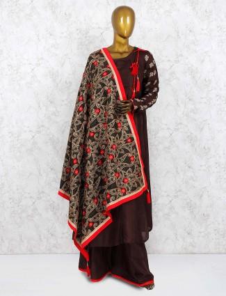 Brown hue cotton silk round neck punjabi palazzo suit
