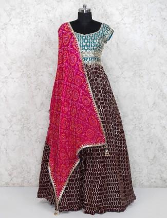 Brown hue party wear floor length anarkali salwar suit