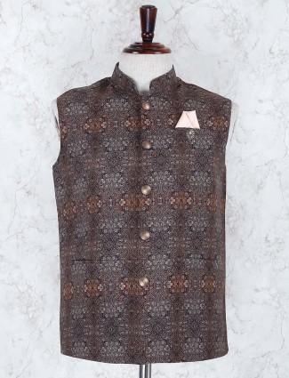 Brown hue printed terry rayon fabric waistcoat