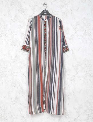 Brown hue stripe pattern cotton casual kurti