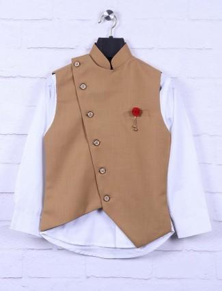 Brown hued boys terry rayon waistcoat set