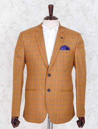 Brown hued checks terry rayon fabric blazer