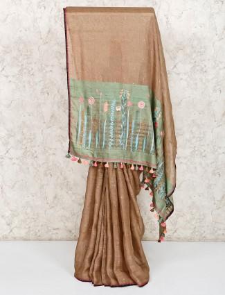 brown linen festive wear saree