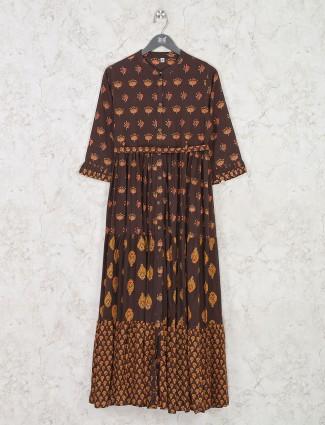 Brown printed design cotton kurti