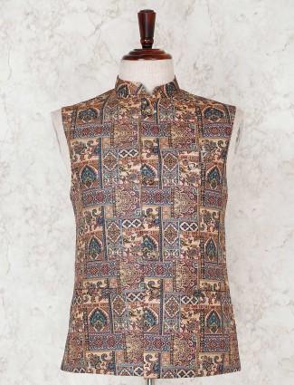 Brown printed ethnic wear waistcoat