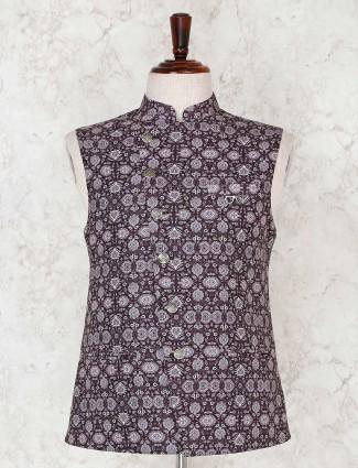 Brown printed sleeveless waistcoat