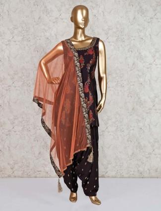 Brown punjabi salwar suit in cotton silk for festival