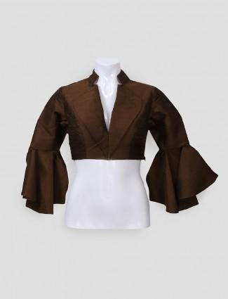 Brown raw silk readymade blouse