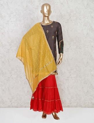 Brown sharara suit in raw silk