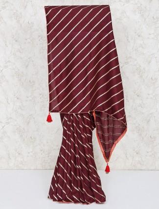 Brown silk leheriya saree