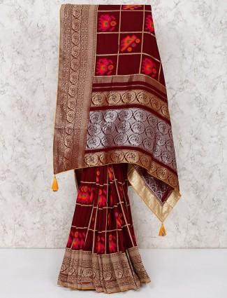 Brown silk thread weaving saree