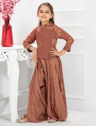 Brown simple cotton printed punjabi palazzo suit