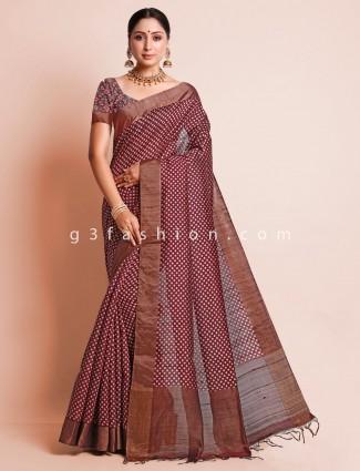Brown south silk festive wear saree