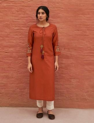 Brown thread work cotton kurti