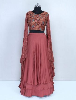 Brown wedding wear lehenga in semi silk