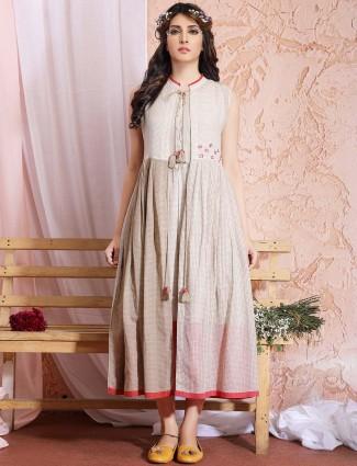 Casual wear beige hue cotton kurti