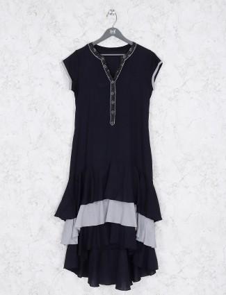 Casual wear black color cotton kurti