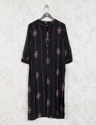 Casual wear black printed kurti set in cotton