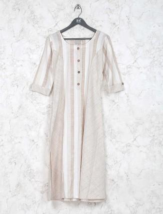 Casual wear off white cotton kurti