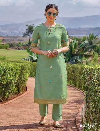 Casual wear pista green kurti in cotton