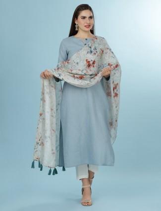Casual wear sky blue kurti in linen with dupatta