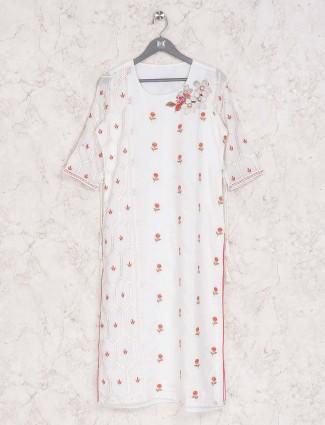 Casual wear white cotton kurti