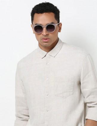 Celio beige linen solid shirt