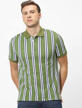 Celio light green stripe half sleeves t-shirt