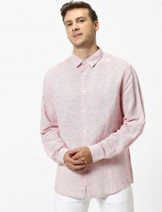 Celio linen pink solid mens shirt
