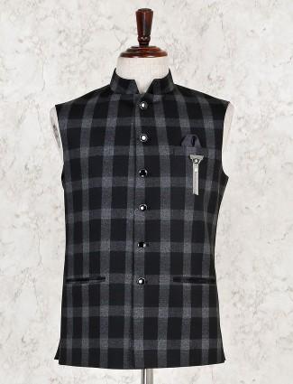 Checks black hue terry rayon waistcoat