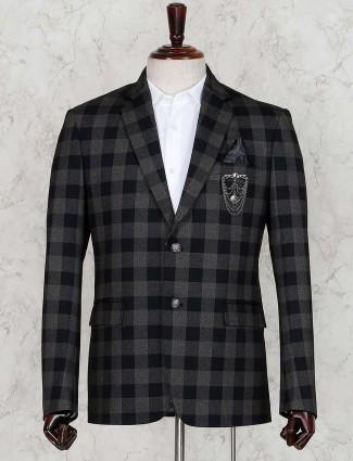 Checks black party occasion terry rayon blazer