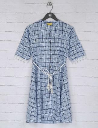 Checks blue color cotton long top