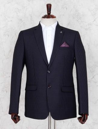 Checks navy color mens notch lapel collar blazer