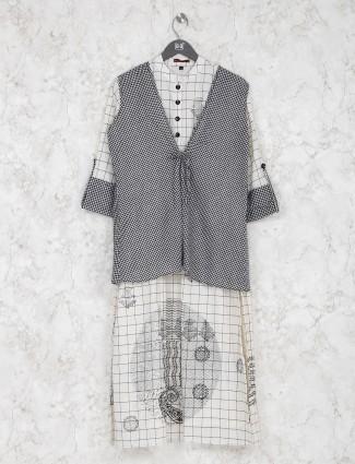 Checks pattern black and white cotton kurti