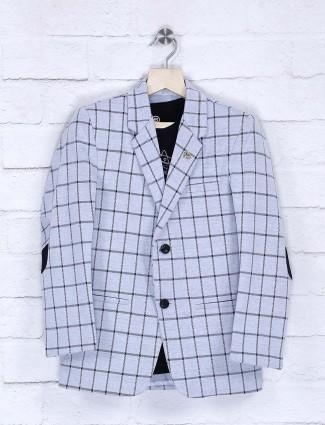 Checks pattern grey hue blazer