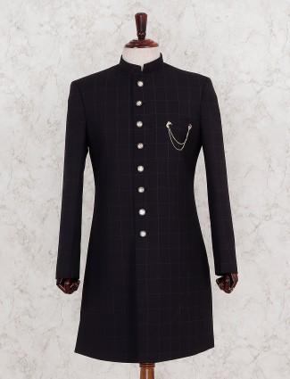 Checks pattern navy color indo western