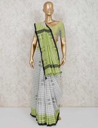 Checks white and green linen saree