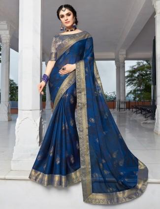 Chiffon festive occasion navy saree