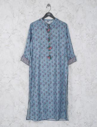Chinese neck cotton blue color kurti