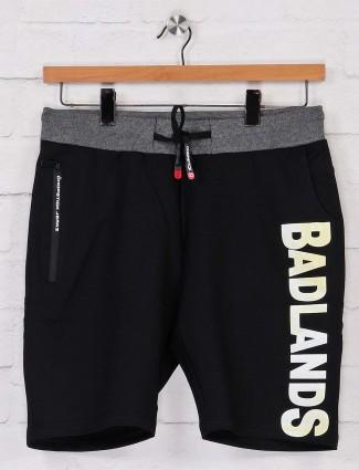 Chopstick black solid cotton shorts