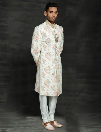 Clasic off white silk sherwani