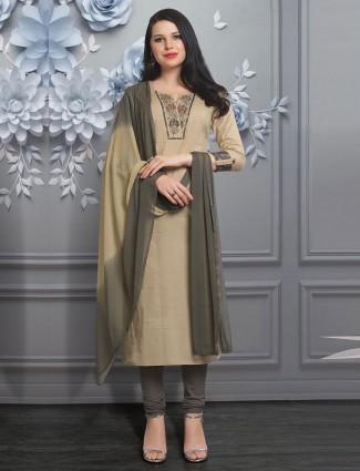 Classic beige cotton silk salwar suit