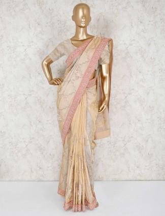Classic beige pure silk saree