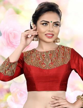 Classic maroon raw silk fabric ready made blouse